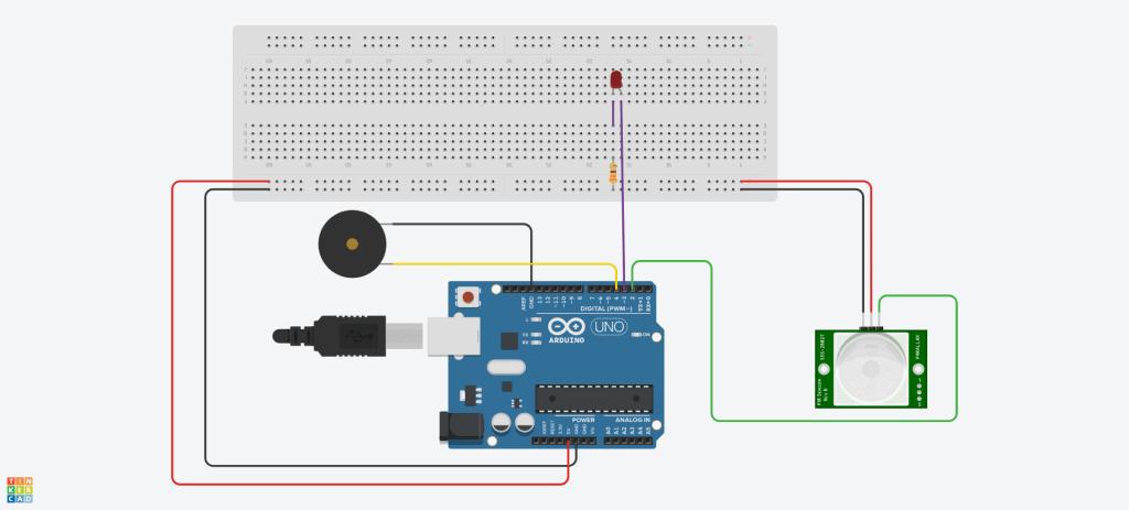 Diagrama de conexión para armar un detector de movimiento con Arduino