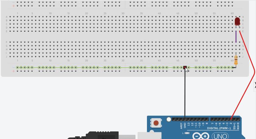 Conexión básica de un led para crear el reloj binario